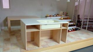 キッチンシンクの反対側製作中。