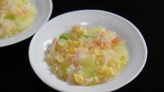 蟹レタスチャーハン作りました。